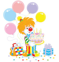 circus clown with birthday cake vector image