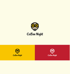 coffee night with owl character logo vector image