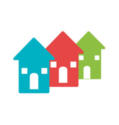 color pictogram with set of houses vector image