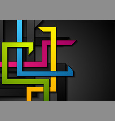 colorful abstract stripes on black background vector image