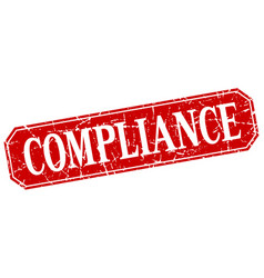 Compliance red square vintage grunge isolated sign vector
