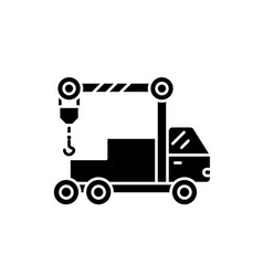 Crane machine black icon sign on isolated vector