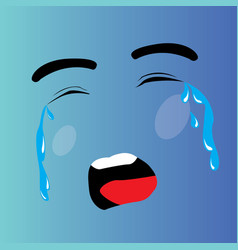 crying cartoon face vector image