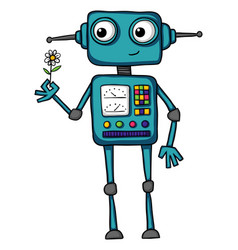 Cute cartoon robot holding a flower vector
