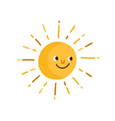 cute happy smiling sun with rays childish drawing vector image