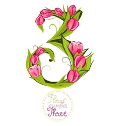 Decorative number three made with tulips vector image