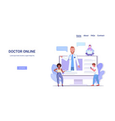 Doctor consulting mix race patients giving vector