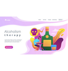 Drinking alcohol concept landing page vector