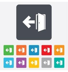 Emergency exit sign icon Door with left arrow vector