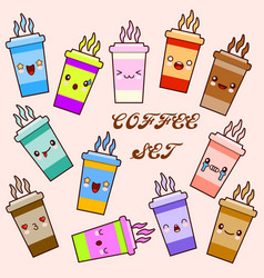 Emoji cup of coffee set cartoon cute cup vector