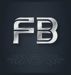 f and b initials silver logo fb - metallic 3d vector image