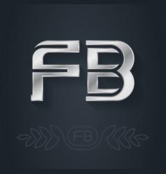 F and b initials silver logo fb - metallic 3d vector