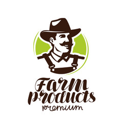 farm products logo or label farmer icon vector image