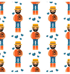 farmer character forester man seamless pattern vector image