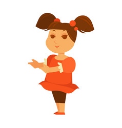 Female child showing something with hands isolated vector