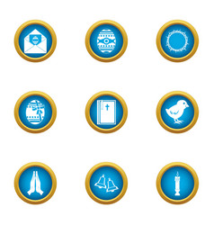 Fictional icons set flat style vector