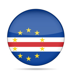 Flag of cape verde shiny round button vector
