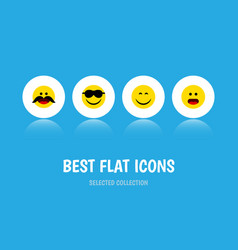 flat icon face set of cheerful wonder smile and vector image