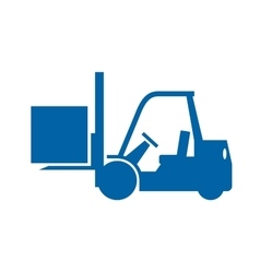 Forklift truck monochrome icon vector