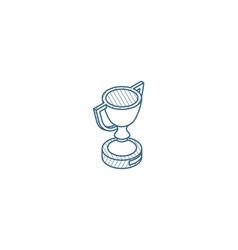 Golden trophy cup isometric icon 3d line art vector