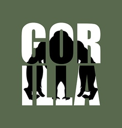 Gorilla Silhouette of wild animal in text Big vector image