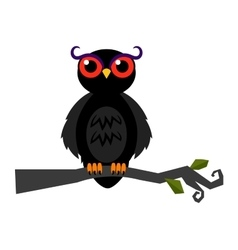 Halloween spooky owl on dark forest branch vector