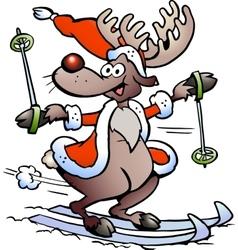 Hand-drawn an reindeer skiing vector