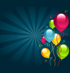 Happy birthday card with party balloons vector