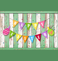 happy easter wooden background vector image