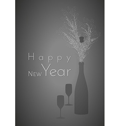 Happy new year and glasses with bottle vector