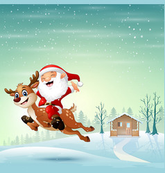 Happy santa claus riding a reindeer jumping on sno vector