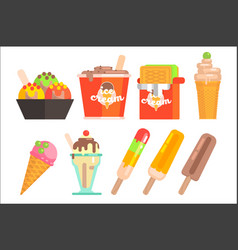 Ice-cream in bowl waffle wrapper box glass cup vector