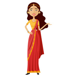 Indian businesswoman presents something vector