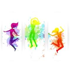 Jumping people banners vector