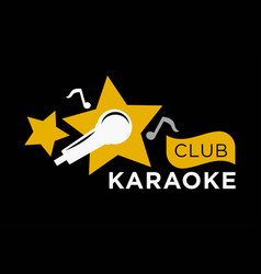 Karaoke club icon template of music notes vector