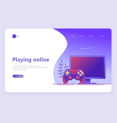 Landing page template video gaming online games vector