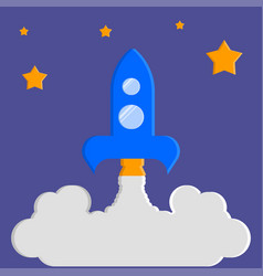 Launch of the rocket the night starry sky vector