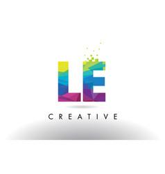 Le l e colorful letter origami triangles design vector