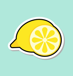 Lemon sticker on blue background colorful fruit vector