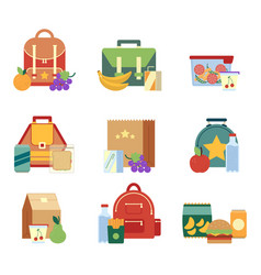 lunch box and bag with healthy food for kids vector image