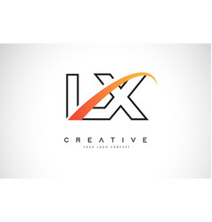 Lx l x swoosh letter logo design with modern vector