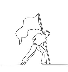 man holding flag continuous line drawing vector image