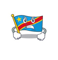 Mascot angry flag democratic republic cartoon vector