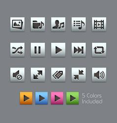 Media player icons - satinbox series vector