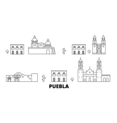 Mexico puebla line travel skyline set mexico vector