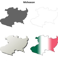 Michoacan blank outline map set vector