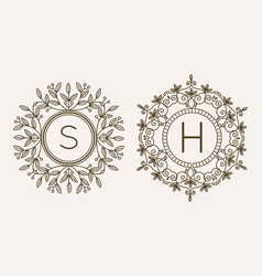 monogram logo and text badge emblem line art vector image