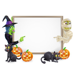 Mummy and witch halloween sign vector