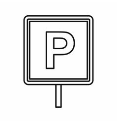 Parking sign icon outline style vector