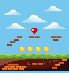 pixel game level golden coins diamond sky vector image